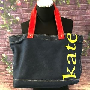 Kate Spade Monogrammed Blue Canvas Tote Bag